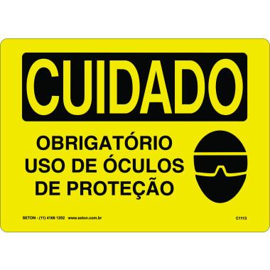 Placa Cuidado Obrigatório Uso de Óculos de Proteção