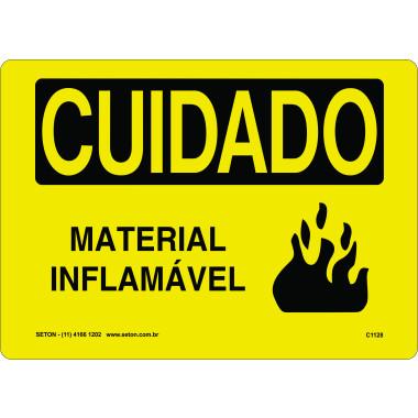 Placa Cuidado Material Inflamável