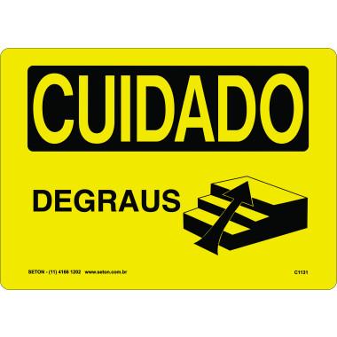 Placa de Cuidado | Degraus | Sobe