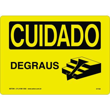 Placa de Cuidado | Degraus | Desce