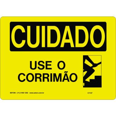 Placa de Cuidado | Use o Corrimão