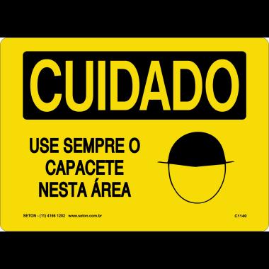 Placa Sinalização de Cuidado | Use Sempre o Capacete Nesta Área