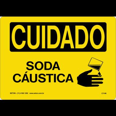 Placa Sinalização de Cuidado | Soda Cáustica