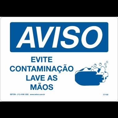 Placa de Aviso | Evite Contaminação Lave as Mãos