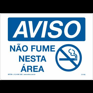 Placa de Aviso | Não Fume Nesta Área