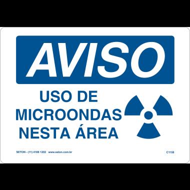 Placa Aviso Uso de Microondas Nesta Área