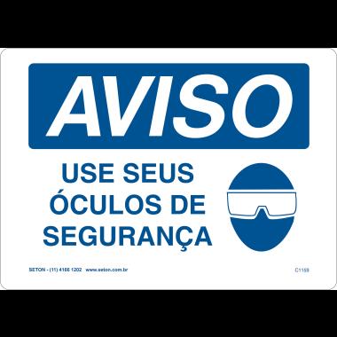 Placa de Aviso | Use Seus Óculos de Segurança