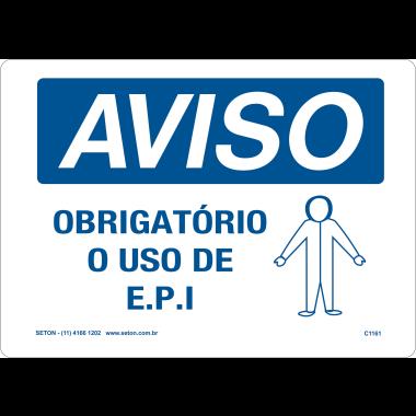 Placa Aviso Obrigatório o Uso de EPI