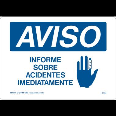 Placa Aviso Informe Sobre Acidentes Imediatamente