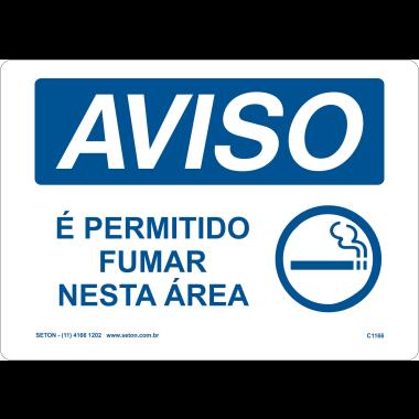 Placa Aviso é Permitido Fumar Nesta Área