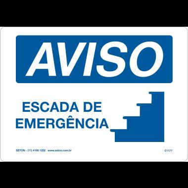 Placa de Aviso | Escada de Emergência