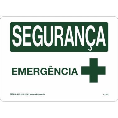 Placa segurança emergência