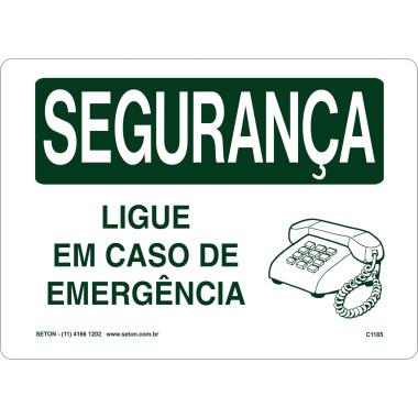 Placa de Sinalização de Segurança | Ligue __ em Caso de Emergência