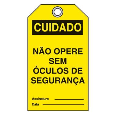 Cartão de cuidado não opere sem óculos de segurança