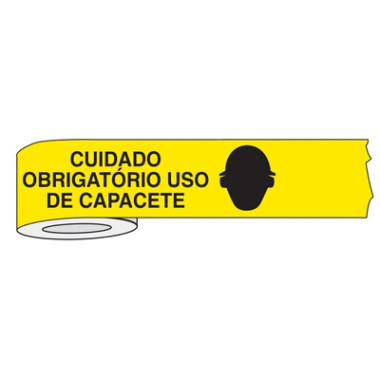 Fita para isolamento de área cuidado obrigatório uso de capacete