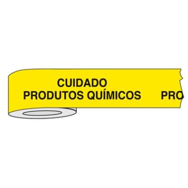Fita Impressa para Isolamento de Área com Impressão Cuidado Produtos Químicos | 7,6cm x 300m