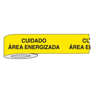 Fita para Isolamento de Área com Impressão   Cuidado Área Energizada