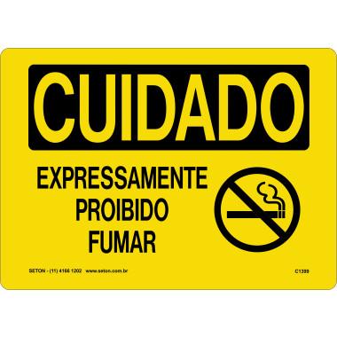 Placa cuidado expressamente proibido fumar