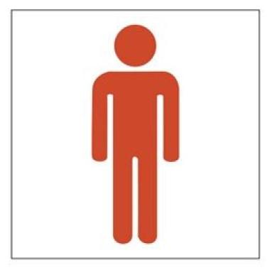 Placa Banheiro Masculino Pictograma Vermelho