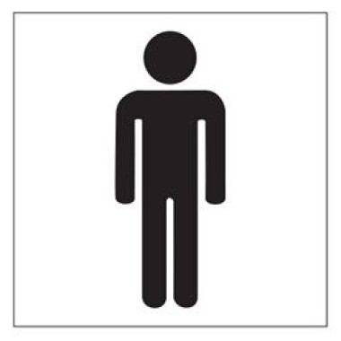 Placa Banheiro Masculino Pictograma Preto