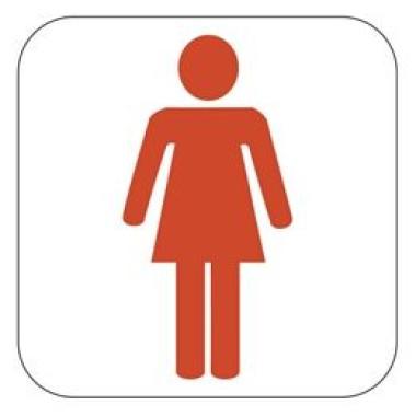 Placa Banheiro Feminino Pictograma Vermelho