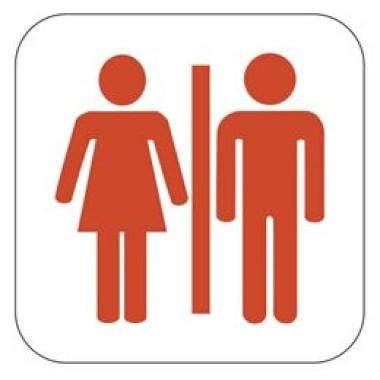 Placa Banheiro Masculino e Feminino Pictograma Vermelho