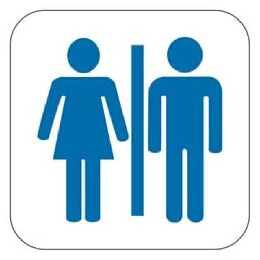 Placa Banheiro Masculino e Feminino Pictograma Azul