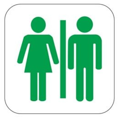 Placa Banheiro Masculino e Feminino Pictograma Verde