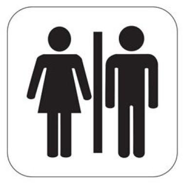 Placa Banheiro Masculino e Feminino Pictograma Preto