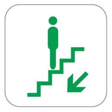 Pictograma - Símbolo Escada Rolante Desce - Verde