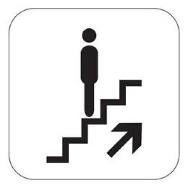Pictograma - Símbolo Escada Rolante Sobe - Preto