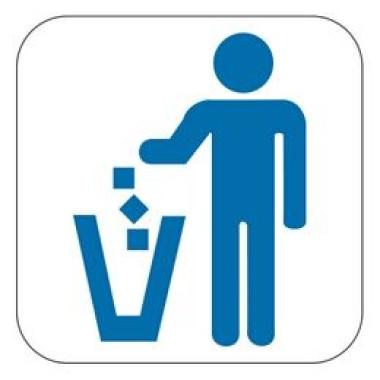 Placa Lixo Pictograma Azul