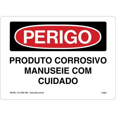 Placa produto corrosivo manuseie com cuidado