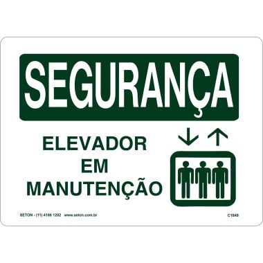 Placa de Sinalização de Segurança | Elevador em Manutenção