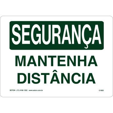 Placa de Sinalização de Segurança | Mantenha Distância