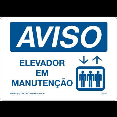 Placa de Aviso | Elevador em Manutenção