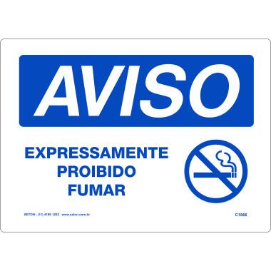 Placa de Aviso - Expressamente Proibido Fumar