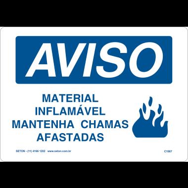 Placa de Aviso | Material Inflamável Mantenha Chamas Afastadas
