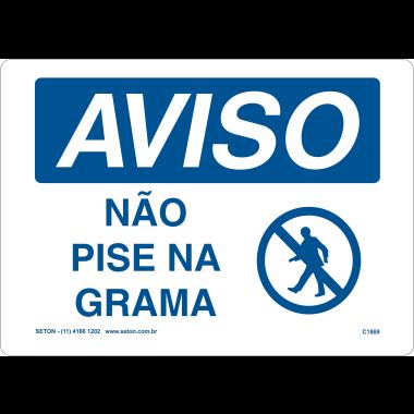 Placa de Aviso | Não Pise na Grama