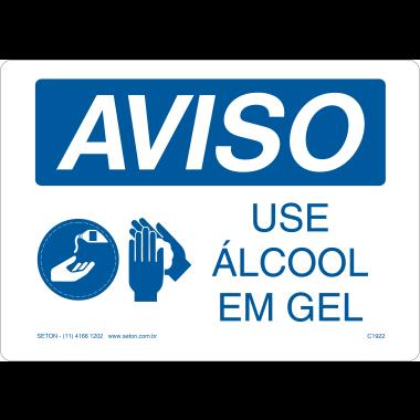 Placa de Aviso - Use Álcool em Gel