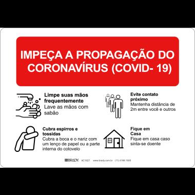 Placa Impeça a Propagação do Covid-19