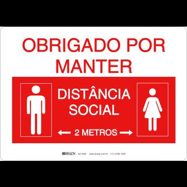 Placa Obrigada por Manter Distância Social