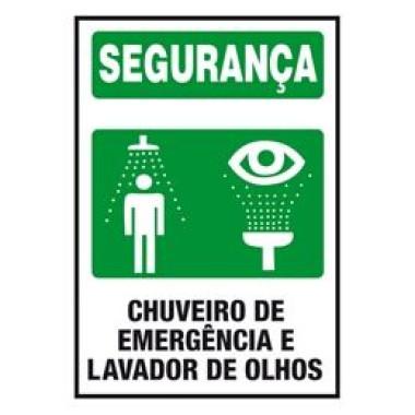 Placa segurança chuveiro de emergência e lavador de olhos