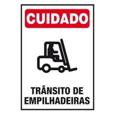 Placa cuidado trânsito de empilhadeiras