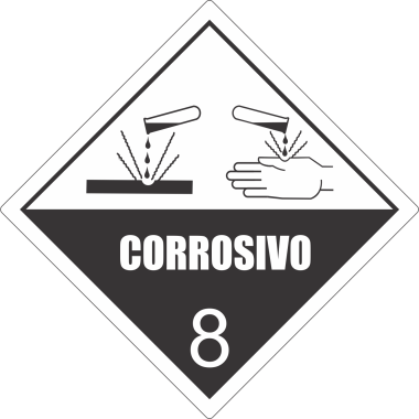 Rolo de etiquetas corrosivo 8