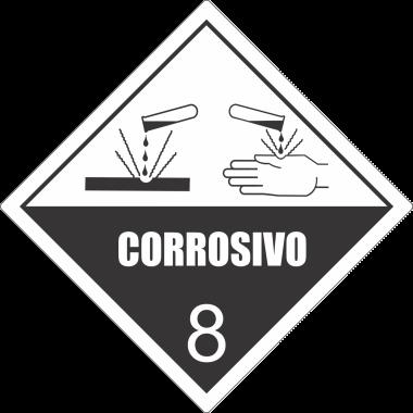 Rolo de Etiquetas de Simbologia de Risco - Corrosivo 8