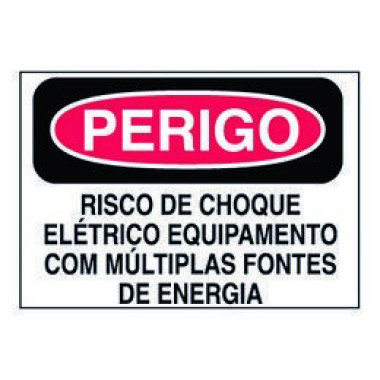 Etiqueta de Perigo - Risco de Choque Elétrico Equipamento Com Múltiplas Fontes de Energia