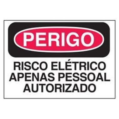 Etiqueta de Perigo - Risco Elétrico Apenas Pessoal Autorizado
