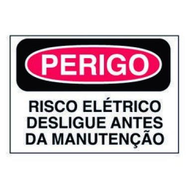 Etiqueta de Perigo - Risco Elétrico Desligue Antes da Manutenção