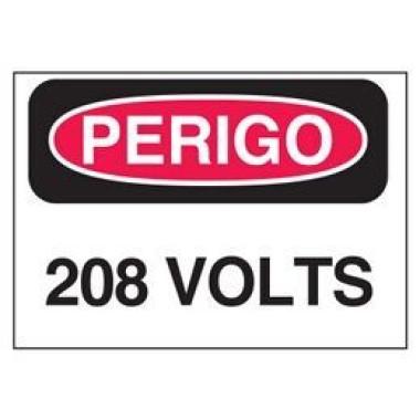 Etiqueta de Perigo - 208 Volts
